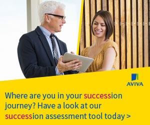Aviva Insurance advert offering insurance brokers help with succession planning