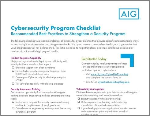 AIG-produces-Cyber-Security-Program-Checklist