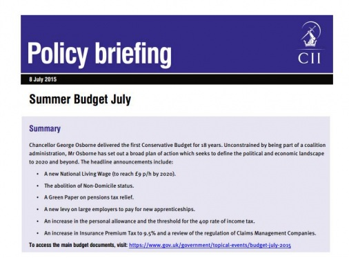 CII publishes Summer Budget Policy Briefing | youTalk