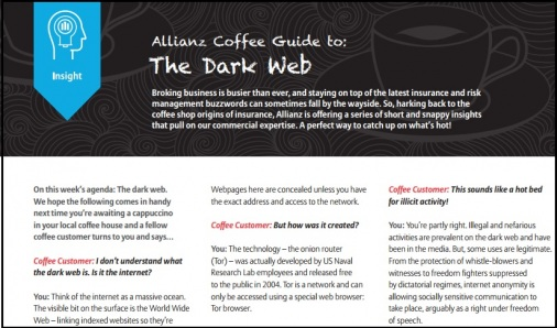 Allianz produces coffee guide to The Dark Web | youTalk-insurance com